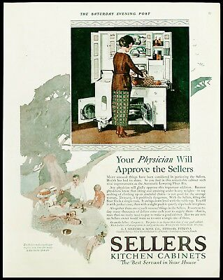 1920 SELLERS White Kitchen Cabinet Pantry Furniture Green/Teal Dishes Vtg AD