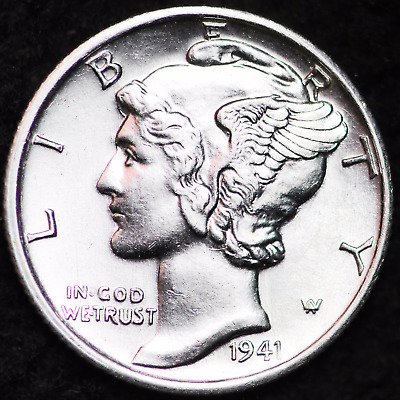 1941-S Au Mercury Dime / San Francisco Mint Almost Uncirculated 90% Silver Coin
