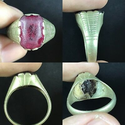 Ancient Red Roman Glass Bronze Lovely Ring