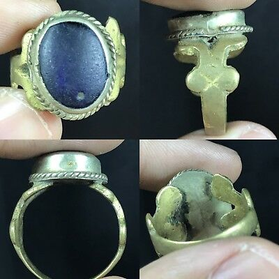Lovely Ancient Blue Roman Glass Bronze Ring