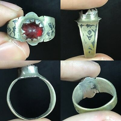 Lovely Roman Ancient Bronze Red Glass Ring