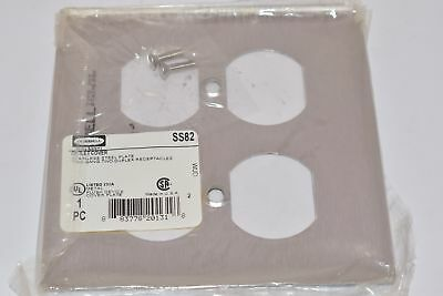 Lot of 2 NEW HUBBELL WIRING DEVICES SS82 WALL PLATE, METAL, 2 GANG, SATIN