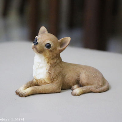 Lovely Chihuahua Brown DOG Hand Painted Resin Figurine Statue mini pet toy gift