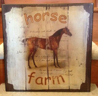 "Horse Farm Wooden Wall Hanging 16""x16"" Thoroughbred Racing"