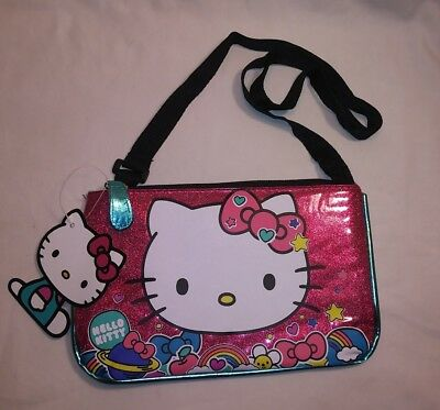 New Hello Kitty Little Girl's Purse Over Shoulder Body Strap Shiny Sparkly Bag