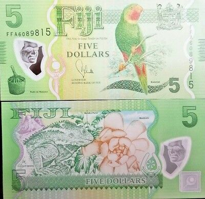 C) Fiji Bank Note 5 Dollars Unc Nd 2012 Polymer Note
