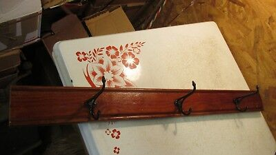 Antique Yellow Pine and Cast Iron Hooks Coat Rack