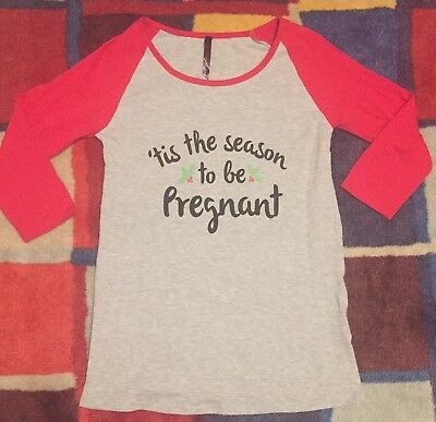 "Christmas Baseball Pregnancy T-Shirt Top ""'tis the season to be pregnant"""
