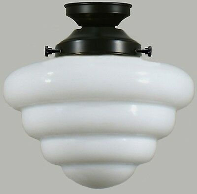 """New Art Deco Complete Flush Mount Beehive 10"""" 2 Piece Glass Shade Ceiling Black"""