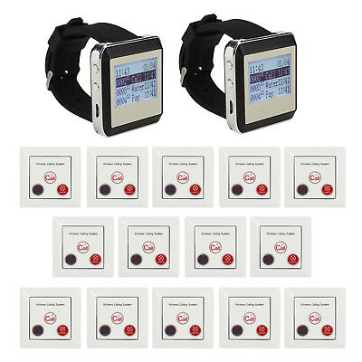 Restaurant Calling Pager System 14 Guest Call Button+2 Waiter Watch Receiver Set