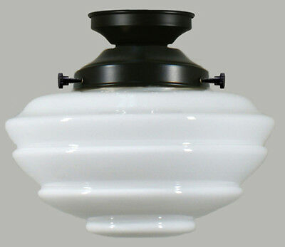 New Art Deco Complete Flush Mount Cannes Gloss 2 Piece Glass Shade Ceiling Black
