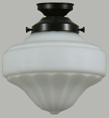 """New Art Deco Complete Flush Mount Derby 9"""" 2 Piece Glass Shade Ceiling Black"""