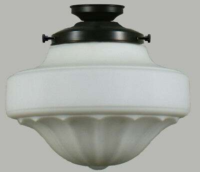 """New Art Deco Complete Flush Mount Derby 13"""" 2 Piece Glass Shade Ceiling Black"""