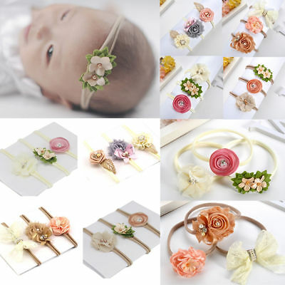 3pcs Kids Girl Baby Toddler Bow Headband Hair Band Accessories Headwear Head