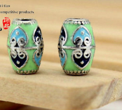 5 PCs Tibetan Silver Metal Beads dread beads 4mm hole-green cloisonne