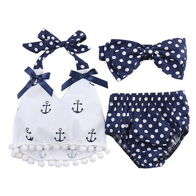 Cotton Baby Girl Anchor Tops+Briefs Shorts 3pcs Outfits Set Clothes US Stock
