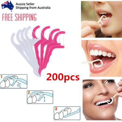 200PCS Dental Floss Holder Personal Tooth Oral Care Health Aid Picks