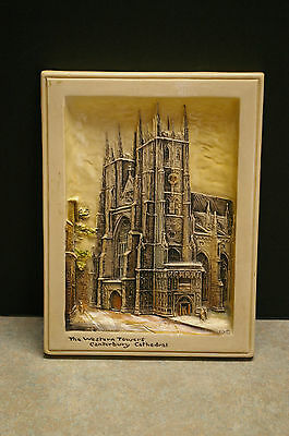 Arthur Osborne 'ivorex' 'the Western Towers Canterbury Cathedral'  Wall Plaque