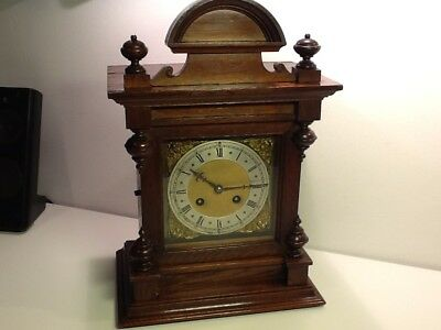 Antique Edwardian Oak Cased Twin Train Mantel Clock with Silvered Dial