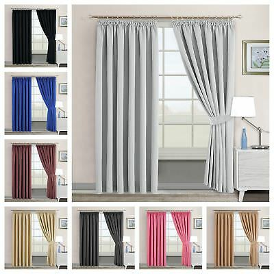 Thermal Pencil Pleat Blackout Tape Top Ready Made Pair of Curtains Free Tiebacks