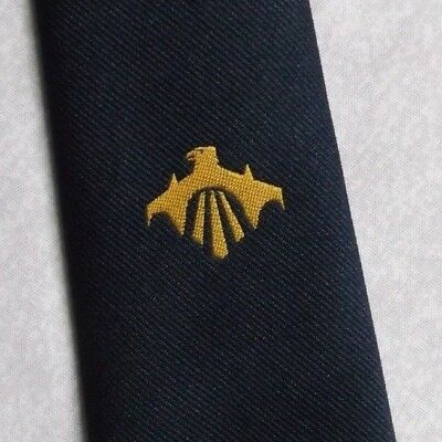MENS CLUB TIE VINTAGE RETRO CLUB ASSOCIATION 1980s NAVY CRESTED BY THEROS