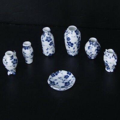 1/12 Dollhouse Miniatures Ceramics Porcelain Vase Blue Vine -7 piece P9N2