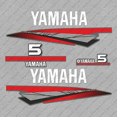 Yamaha 5 HP Two 2 Stroke Outboard Engine Decals Sticker Set reproduction 5HP