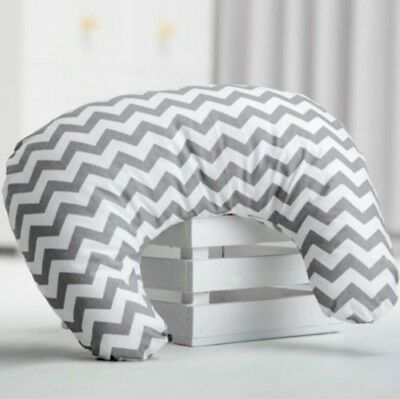 Nursing Breast Feeding Pillow Grey Chevron Cushion Baby Support Maternity