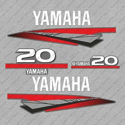 Yamaha 20 HP Two 2 Stroke Outboard Engine Decals Sticker Set reproduction 20HP