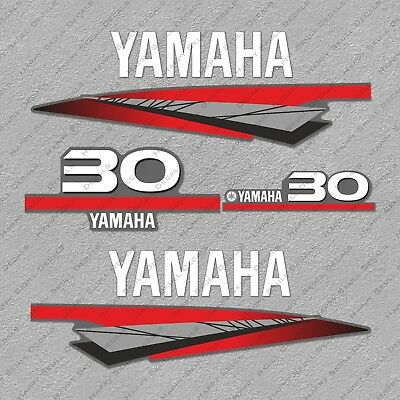 Yamaha 30 HP Two 2 Stroke Outboard Engine Decals Sticker Set reproduction 30HP