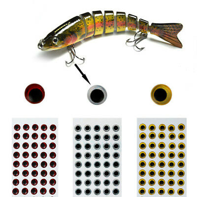 100Pcs/Lot 3D Holographic Fishing Lure Eyes Fly Realistic Tying Jigs Craft 3-9mm
