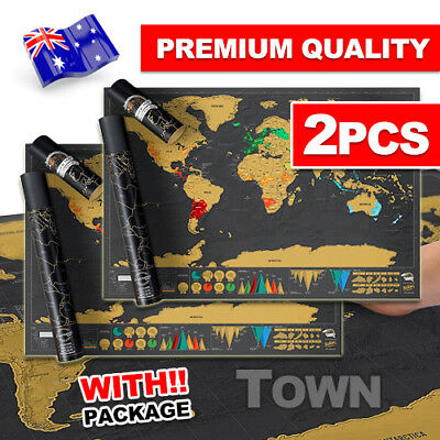 2X Deluxe Large Scratch Off World Map Personalized Travel Poster Atlas Decor NEW
