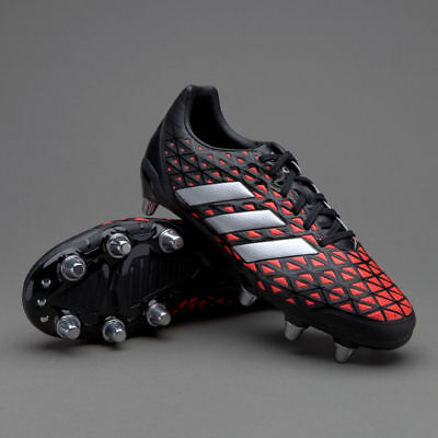 BRAND NEW Size 10 Adidas Kakari Elite SG Rugby Boots - Black/Silver/Red - AQ2056