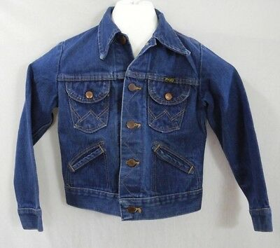 Vtg Wrangler Sanforset Denim Jacket Cowboy Farm Chore 14 oz plus Youth Size 10