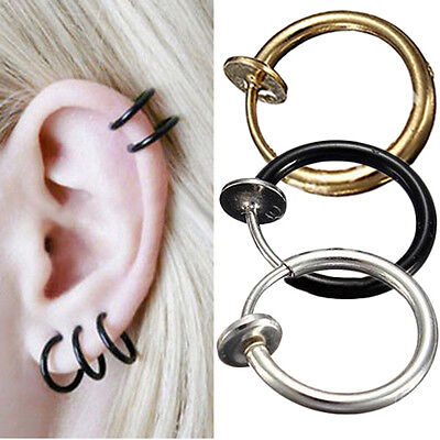 2 stk Fake Stud Ohrringe Goth Punk Clip On Piercing Nose Rings   Ear