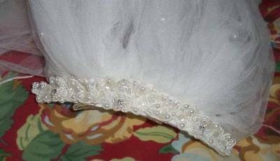 Vintage White Double Layer Veil with Pearl and Crystal Headband