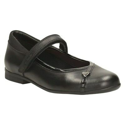 NEW CLARKS MOVELLO LO JNR GIRLS SCHOOL Mary Jane SHOES BLACK LEATHER 13 F