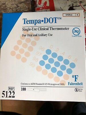 Tempa-dot Disposable Thermometer Sterile 100 Count NEW FREE FAST SHIPPING