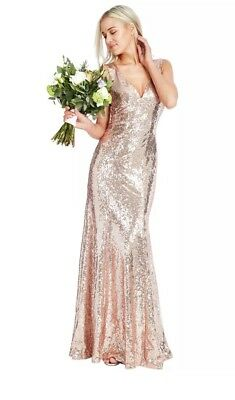 da6d6649333d Goddiva Sequin Rose Gold Boutique Maxi Dress 8 fishtail Prom Bridesmaid