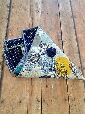NEW Pocket Square Floral w/ Lapel Pin Reversible Navy Blue White Yellow Gift Set