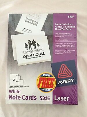 Avery White Note Cards 5315 Laser, New, Wrapped in Original Plastic