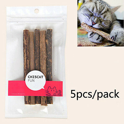 LC_ 5pcs Chat Chaton Chew Bâton Friandise Jouet Naturel Matatabi Cataire Molaire