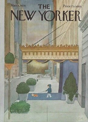 COVER ONLY~ The New Yorker magazine  ~ March 8 1976 ~ MARTIN ~ Boy walking dog