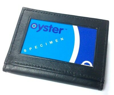 Mens Leather Ultra Slim Mini Credit Card  Case Wallet Black Uk P&p 107