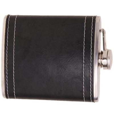 7Oz Leak Proof PU Leather Wrapped Stainless Steel Pocket Hip Flask With Funnel L