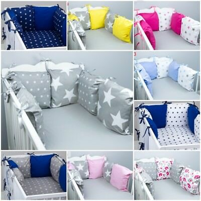 PILLOW BUMPER made from 6 cushions for cot bed GREY PINK BLUE NAVY STARS