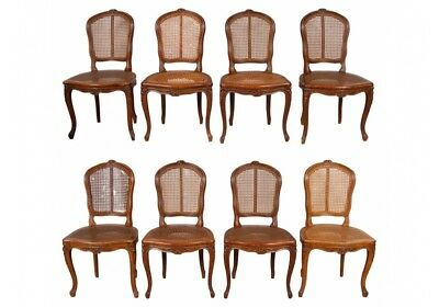 Set Of Eight Vintage Louis XV Style Caned Dining Chairs (47547)