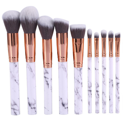 10PCS Makeup Brushes Set Marble Pattern Powder Blush Eyeshadow Cosmetic Tool Kit
