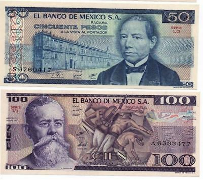 UNCIRCULATED MEXICO SET OF 2 BANKNOTES 50 &100 Pesos Great Price Limited amount