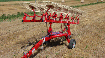"Enorossi 10 Wheel, 22' Hay Rake, Bat Rake,High Clearance,60"" Wheels,7.5mm Teeth"
